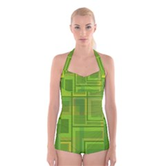 Green pattern Boyleg Halter Swimsuit