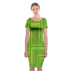 Green pattern Classic Short Sleeve Midi Dress