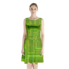 Green Pattern Sleeveless Waist Tie Dress
