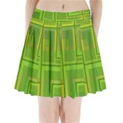 Green pattern Pleated Mini Mesh Skirt