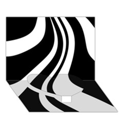 Black and white pattern Heart Bottom 3D Greeting Card (7x5)