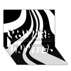 Black and white pattern YOU ARE INVITED 3D Greeting Card (7x5)
