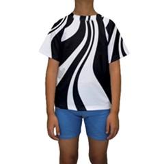 Black and white pattern Kid s Short Sleeve Swimwear