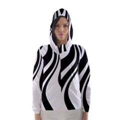 Black and white pattern Hooded Wind Breaker (Women)