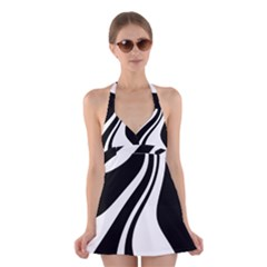 Black and white pattern Halter Swimsuit Dress