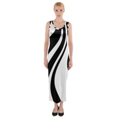 Black And White Pattern Fitted Maxi Dress
