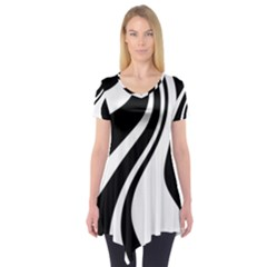 Black and white pattern Short Sleeve Tunic