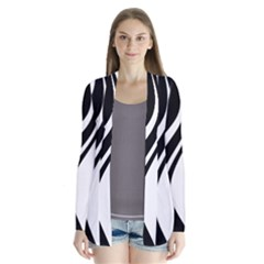 Black and white pattern Drape Collar Cardigan