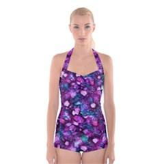 Underwater Garden Boyleg Halter Swimsuit
