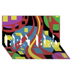 Colorful abstrac art BEST BRO 3D Greeting Card (8x4)