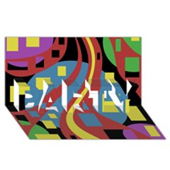 Colorful abstrac art PARTY 3D Greeting Card (8x4)