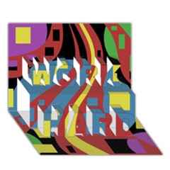 Colorful abstrac art WORK HARD 3D Greeting Card (7x5)