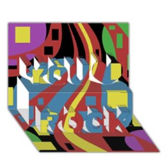 Colorful abstrac art You Rock 3D Greeting Card (7x5)