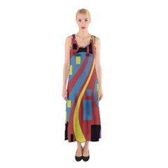 Colorful abstrac art Sleeveless Maxi Dress