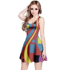 Colorful abstrac art Reversible Sleeveless Dress