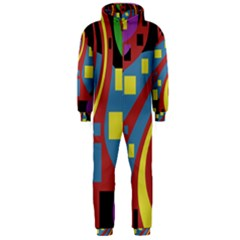 Colorful abstrac art Hooded Jumpsuit (Men)
