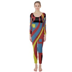 Colorful abstrac art Long Sleeve Catsuit