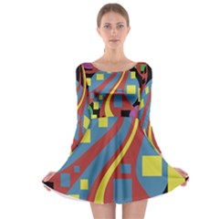 Colorful abstrac art Long Sleeve Skater Dress