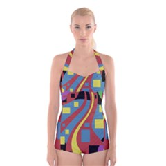 Colorful abstrac art Boyleg Halter Swimsuit