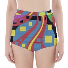 Colorful Abstrac Art High Waisted Bikini Bottoms