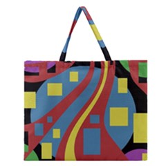 Colorful Abstrac Art Zipper Large Tote Bag