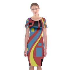 Colorful abstrac art Classic Short Sleeve Midi Dress