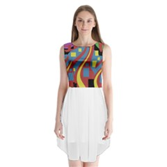Colorful abstrac art Sleeveless Chiffon Dress