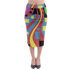 Colorful abstrac art Midi Pencil Skirt