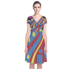 Colorful abstrac art Short Sleeve Front Wrap Dress