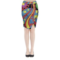 Colorful Abstrac Art Midi Wrap Pencil Skirt