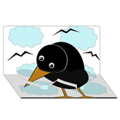Black Raven Twin Heart Bottom 3d Greeting Card (8x4)