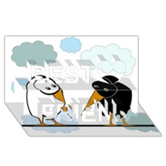 Black and white birds Best Friends 3D Greeting Card (8x4)