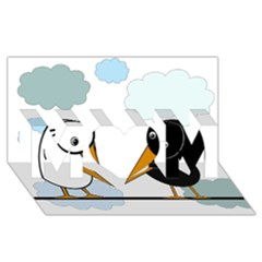Black and white birds MOM 3D Greeting Card (8x4)