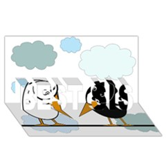 Black and white birds BEST SIS 3D Greeting Card (8x4)