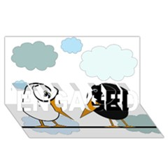 Black and white birds ENGAGED 3D Greeting Card (8x4)