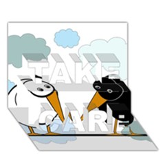 Black and white birds TAKE CARE 3D Greeting Card (7x5)