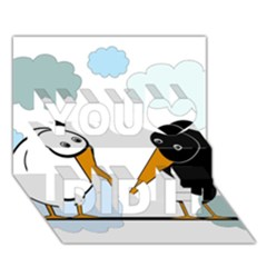 Black and white birds You Did It 3D Greeting Card (7x5)