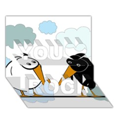 Black and white birds You Rock 3D Greeting Card (7x5)