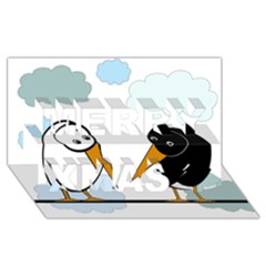 Black and white birds Merry Xmas 3D Greeting Card (8x4)