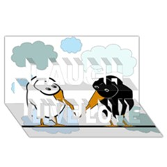 Black And White Birds Laugh Live Love 3d Greeting Card (8x4)