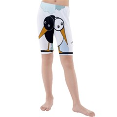 Black and white birds Kid s Mid Length Swim Shorts