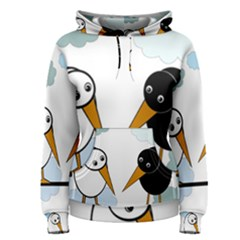 Black and white birds Women s Pullover Hoodie