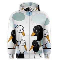 Black and white birds Men s Zipper Hoodie