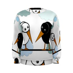 Black and white birds Women s Sweatshirt
