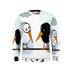 Black and white birds Kids  Sweatshirt