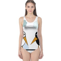 Black and white birds One Piece Swimsuit