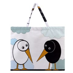 Black and white birds Zipper Large Tote Bag