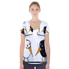 Black and white birds Short Sleeve Front Detail Top