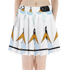 Black And White Birds Pleated Mini Mesh Skirt