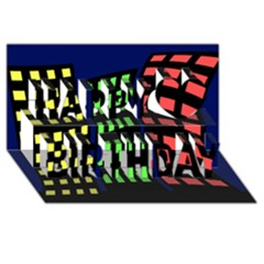 Colorful abstract city landscape Happy Birthday 3D Greeting Card (8x4)